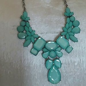 Aqua Seafoam Green Silvertone Necklace